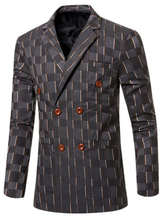 shop New Look Notched Lapel Collar Double Breasted Striped Blazer For Men - GRAY L