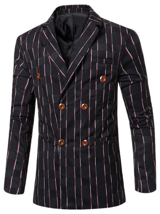 womens New Look Notched Lapel Collar Double Breasted Striped Blazer For Men - BLACK M