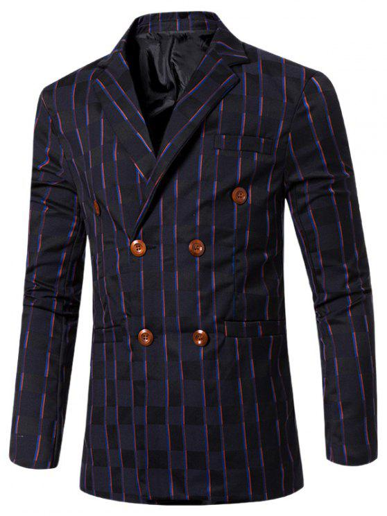 shops New Look Notched Lapel Collar Double Breasted Striped Blazer For Men - DEEP BLUE M