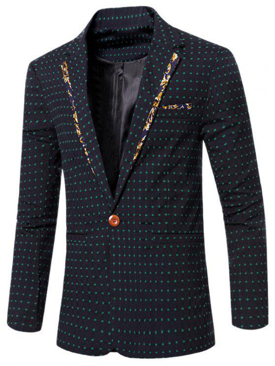 chic Stylish Spliced Dot Embroidered Lapel Collar Single Button Blazer For Men - DEEP GREEN L