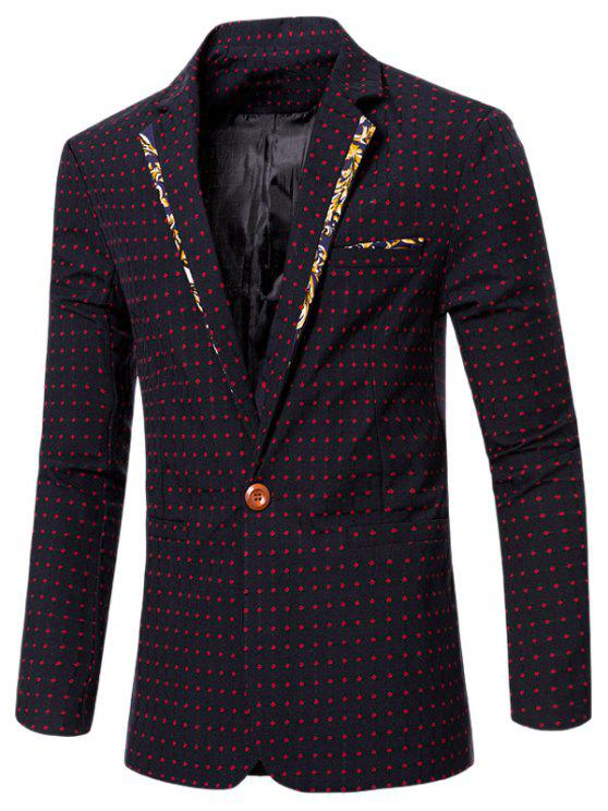 new Stylish Spliced Dot Embroidered Lapel Collar Single Button Blazer For Men - RED M