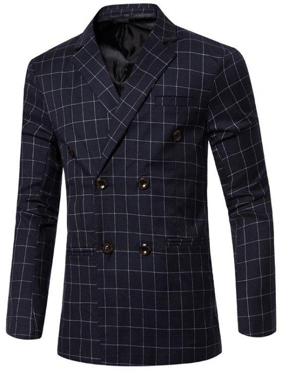 Clásico con muesca de cuello solapa cuadros doble de pecho chaqueta para los hombres - Azul M
