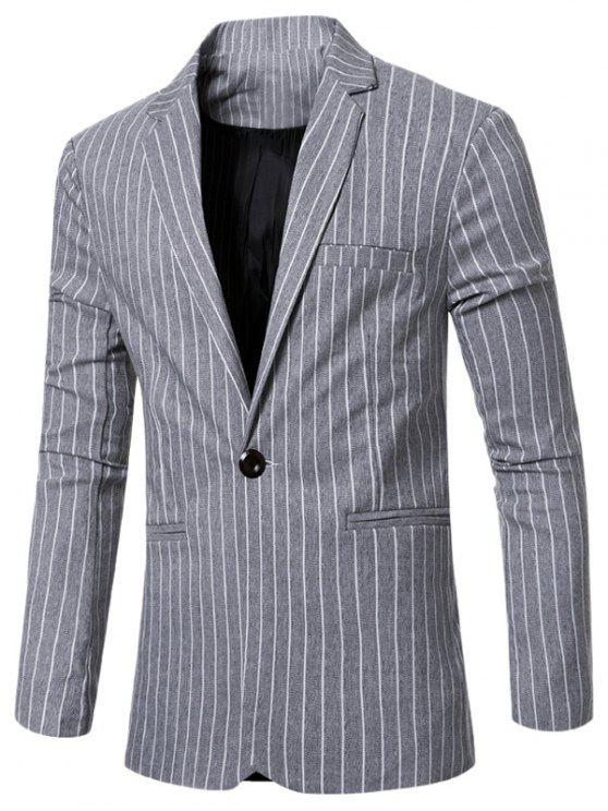 Rayó con muesca de cuello solapa solo botón adelgazan la chaqueta para los hombres - Gris Claro M
