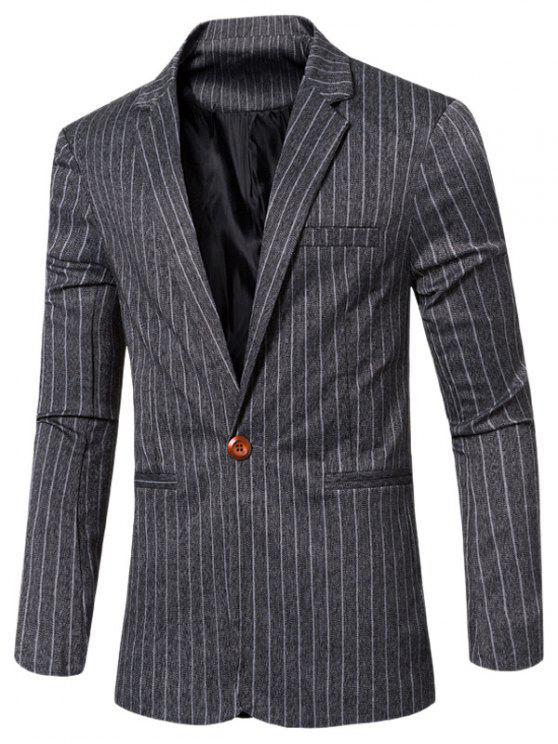 Rayó con muesca de cuello solapa solo botón adelgazan la chaqueta para los hombres - Negro M