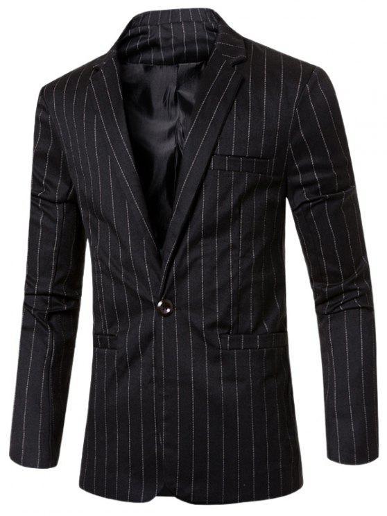 Estilo de rayas de cuello solapa con muescas solo botón adelgazan la chaqueta para los hombres - Negro M