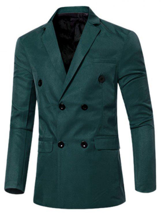Traje Formal Enfrentado Duplo com Colarinho de Lapela Casual com Design de Bolsa de Borda para Homens - Verde Escuro M