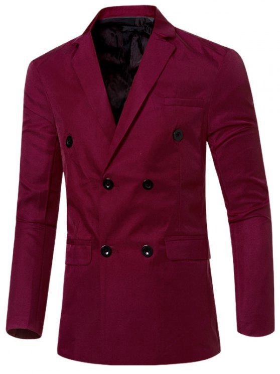 Casual col à revers double breasted Flap-Pocket design Blazer pour homme - Rouge vineux  M