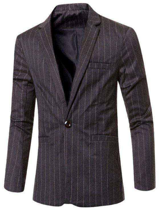 Elegante listrado entalhado lapela Collar único botão Slim Fit Blazer Para Homens - Cinza Escuro M
