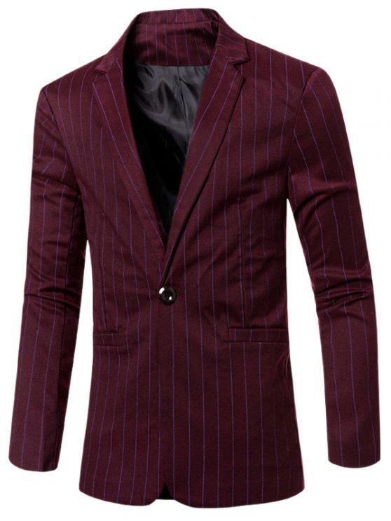 Elegante listrado entalhado lapela Collar único botão Slim Fit Blazer Para Homens - Vermelho Escuro M