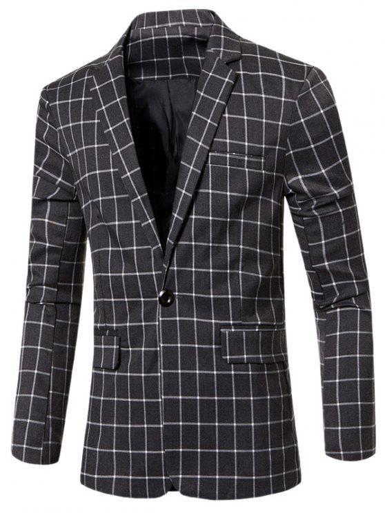 Casual con muesca de cuello solapa un solo botón A cuadros chaqueta para los hombres - Gris M