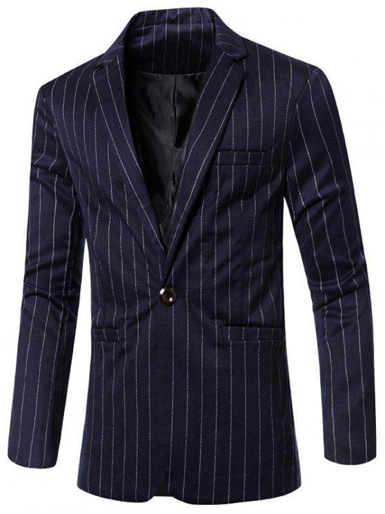 Elegante listrado entalhado lapela Collar único botão Slim Fit Blazer Para Homens - Azul Escuro M