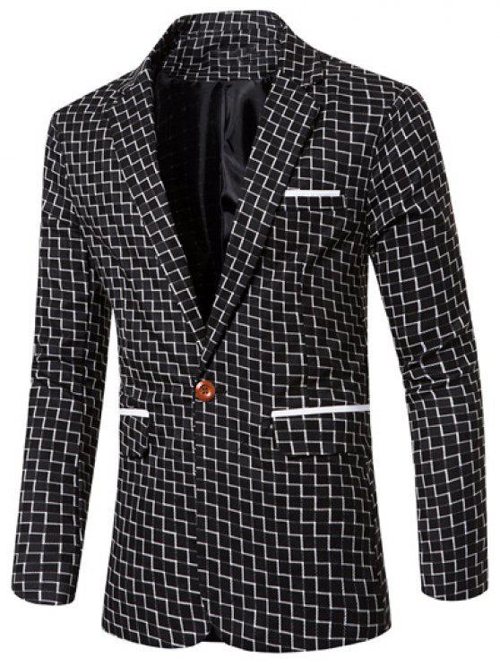 Botón Remiendo Solapa Blazer Los Solo Hombres La De Para Elegante Impresión Del Collar Raya POukXiZ