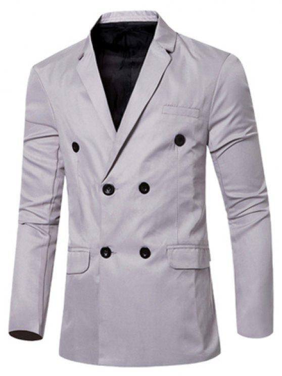 Casual Lapel Collar Doppio Petto Flap-disegno della tasca Blazer per gli uomini - Grigio XL
