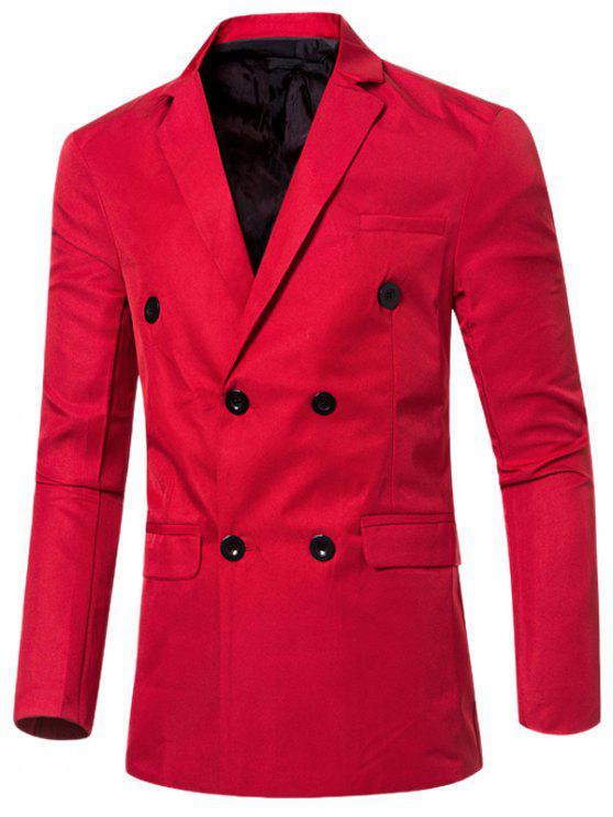 عارضة طية صدر السترة طوق مزدوجة الصدر رفرف الجيب تصميم السترة للرجال - أحمر XL