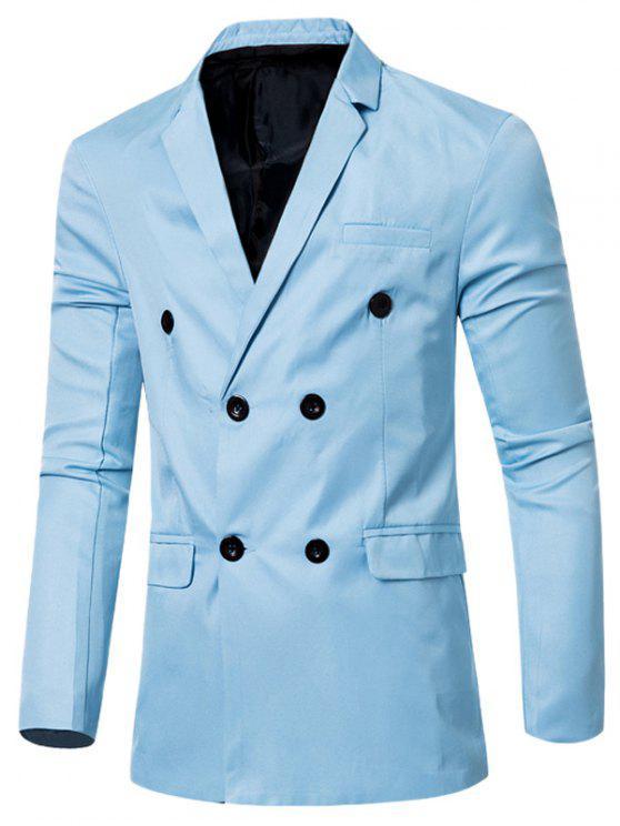 Blazer Casual Cruzado Doble Bosillo Solapa Hombre - Azul Claro M