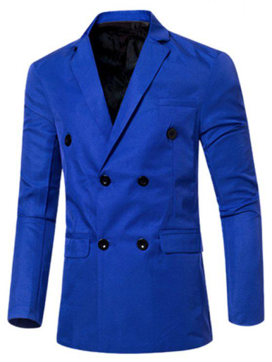 عارضة طية صدر السترة طوق مزدوجة الصدر رفرف الجيب تصميم السترة للرجال - الياقوت الأزرق XL