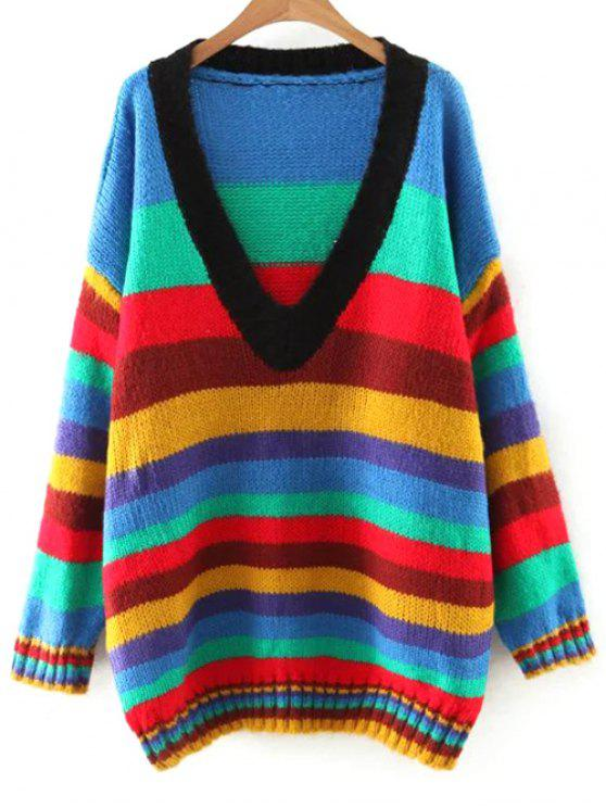hot Striped V Neck Color Block Sweater - COLORMIX M