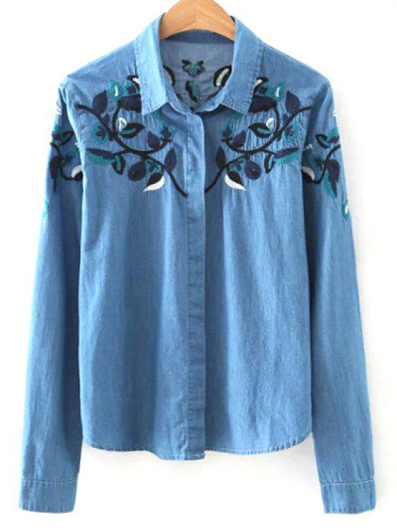 Shirt col Floral Embroidery Denim Shirt - Bleu S
