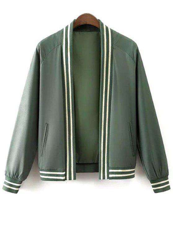 new Flower Bird Print Stand Neck Long Sleeve Jacket - GREEN S