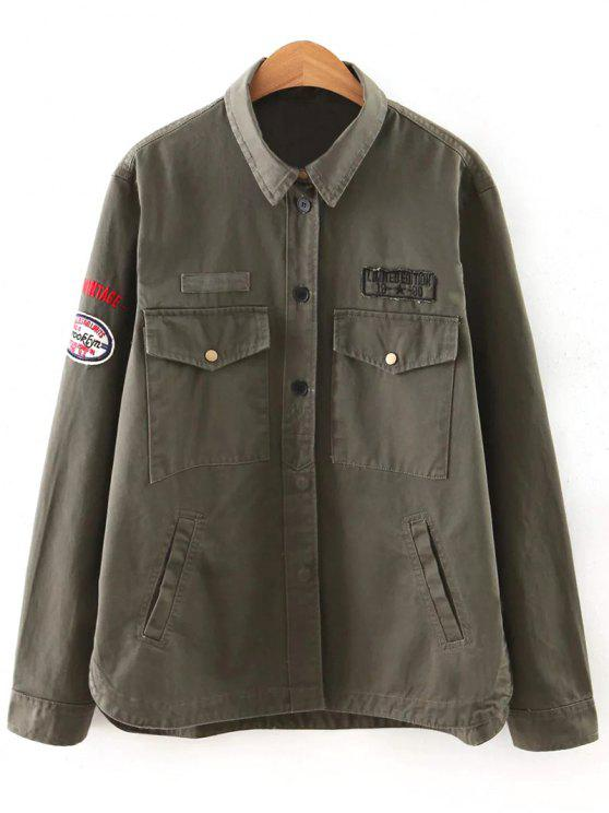 hot Letter Print Epaulet Shirt Neck Pockets Jacket - ARMY GREEN L