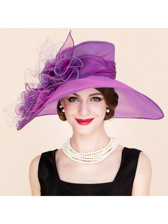 outfits Stylish Handmade Flower Mesh Design Wedding Banquet Party Purple Church Hat - PURPLE