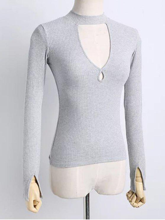 T-shirt découpé à col montant à manches longues à couleur pure - Gris Clair S