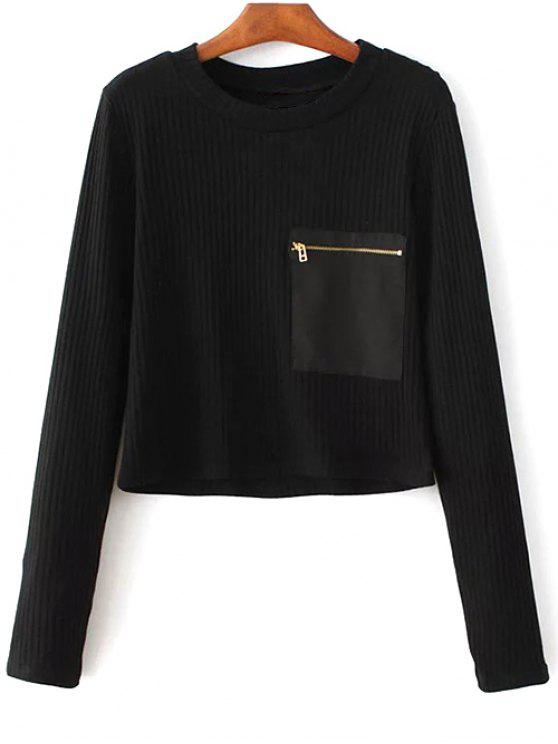 outfits Solid Color Round Neck Pocket Patchwork Sweater - BLACK M
