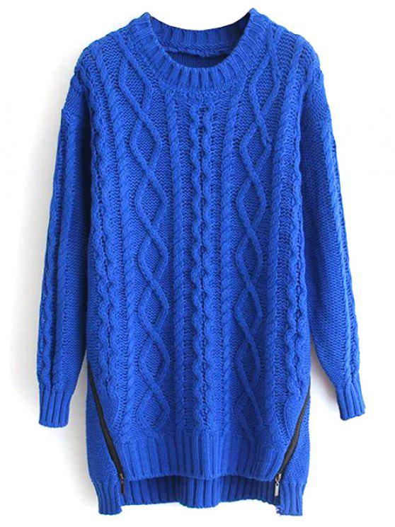Zipper Embellished Long Sleeve Twist Braided Sweater SAPPHIRE BLUE ...