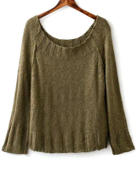 Color sólido con cuello redondo suéter manga larga - Verde negruzco Única Talla