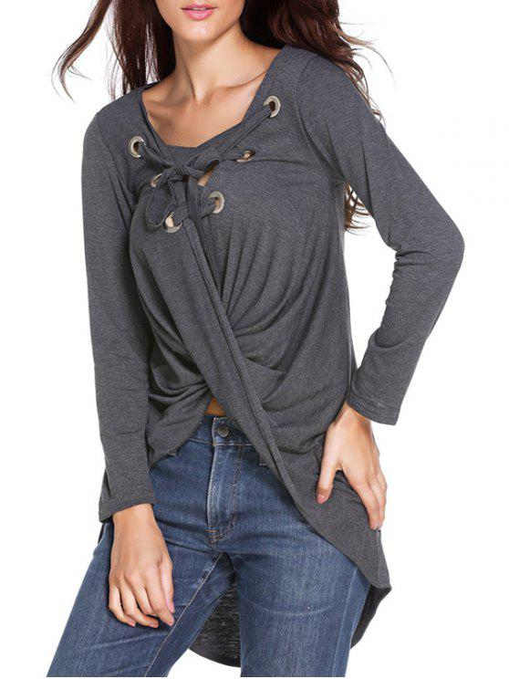 Solide Couleur manches longues Lace Up T-Shirt - gris TAILLE MOYENNE