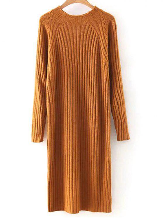 new Solid Color Round Neck Sweater Dress - ORANGE M
