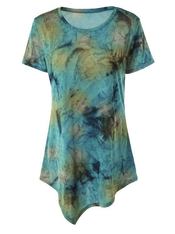 trendy Tie Dye Hankerchief Hem T-Shirt - BLUISH YELLOW S
