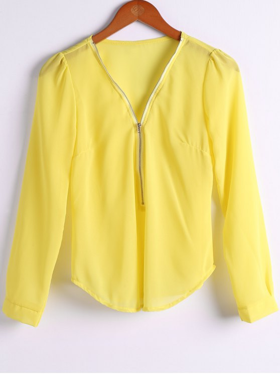affordable Solid Color Plunging Neck Zipper Blouse - YELLOW M