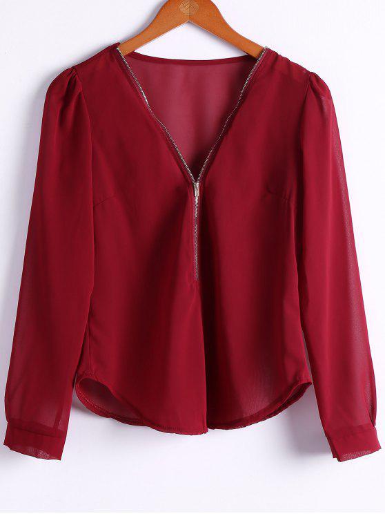 Cor sólida Mergulhando Neck Zipper Blusa - Vinho vermelho L