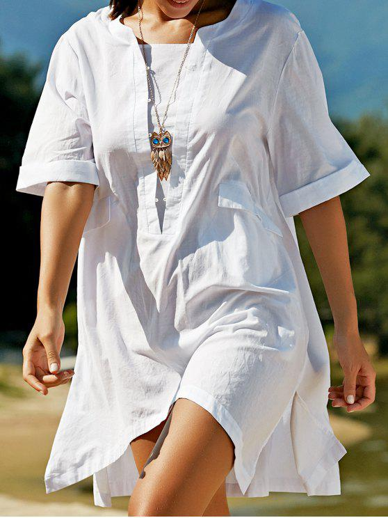 sale Plus Size Half Sleeve Side Slit T-Shirt Dress - WHITE L