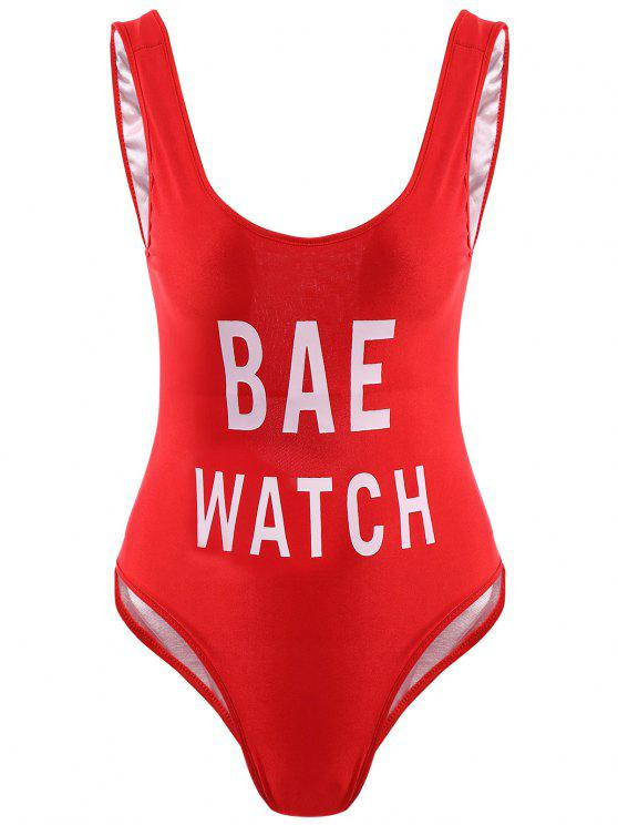 ladies Letter Print One-Piece Swimwear - RED L