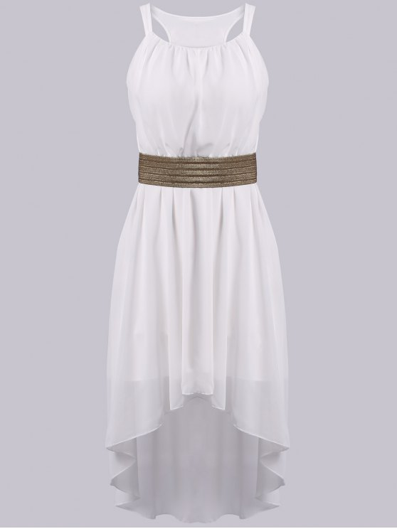 women's Spaghetti Strap High Low Sleeveless Dress - WHITE ONE SIZE(FIT SIZE XS TO M)