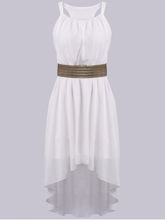 women's Spaghetti Strap High Low Sleeveless Dress - WHITE ONE SIZE(FIT SIZE XS TO M)