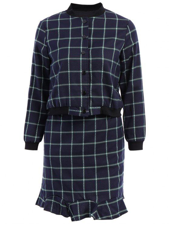 ladies Stand-Up Collar Plaid Long Sleeve Coat + Skirt - CADETBLUE M