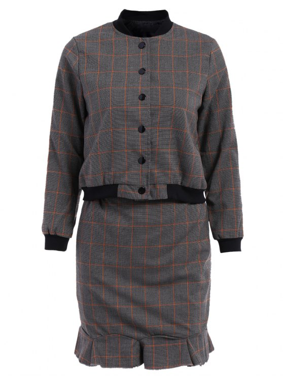 unique Stand-Up Collar Plaid Long Sleeve Coat + Skirt - GRAY M