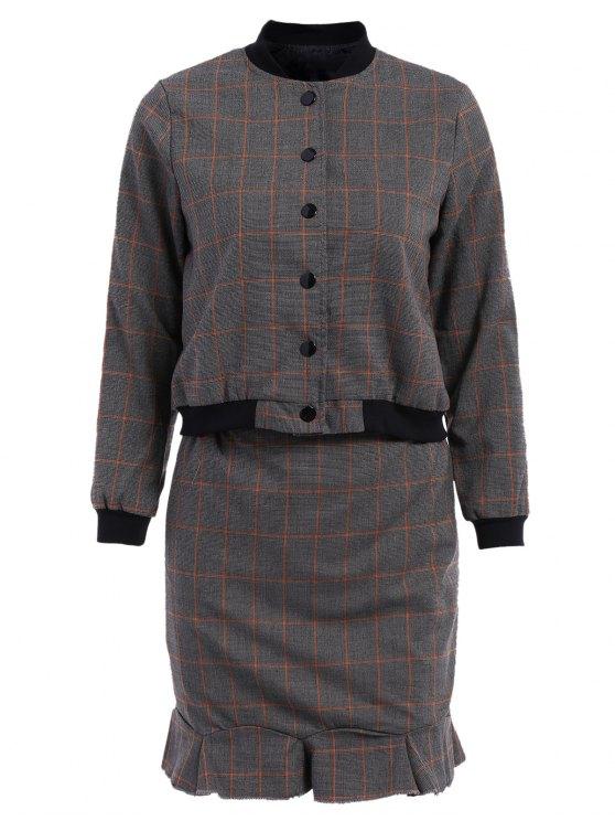 الوقوف طوق طوق منقوشة معطف طويل الأكمام + تنورة - رمادي M