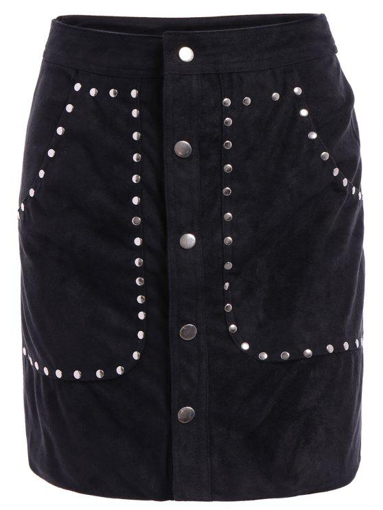 women Rivet Packet Buttocks Suede Skirt - BLACK S