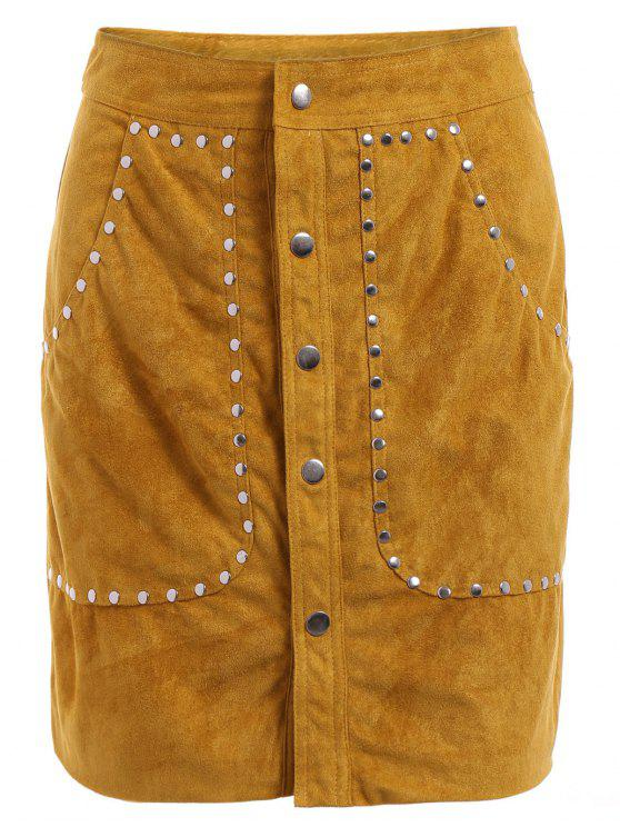 unique Rivet Packet Buttocks Suede Skirt - YELLOW S