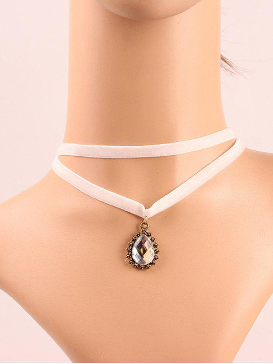 chic Faux Crystal Layered Choker - WHITE