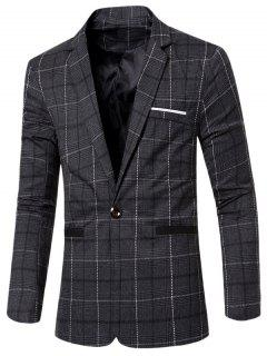 Vintage Notched Lapel Collar Single Button Slim Fit Striped Blazer For Men - Black M