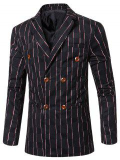 New Look Notched Lapel Collar Double Breasted Striped Blazer For Men - Black M
