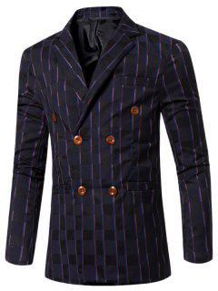 New Look Notched Lapel Collar Double Breasted Striped Blazer For Men - Deep Blue M