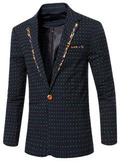 Stylish Spliced Dot Embroidered Lapel Collar Single Button Blazer For Men - Deep Green L