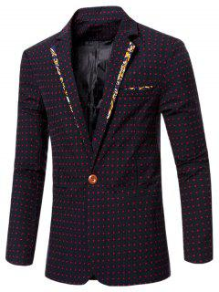 Stylish Spliced Dot Embroidered Lapel Collar Single Button Blazer For Men - Red M