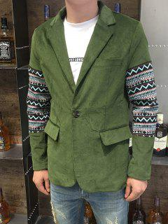 Lapel Ethnic Style Geometric Print Splicing Long Sleeve Blazer For Men - Army Green L